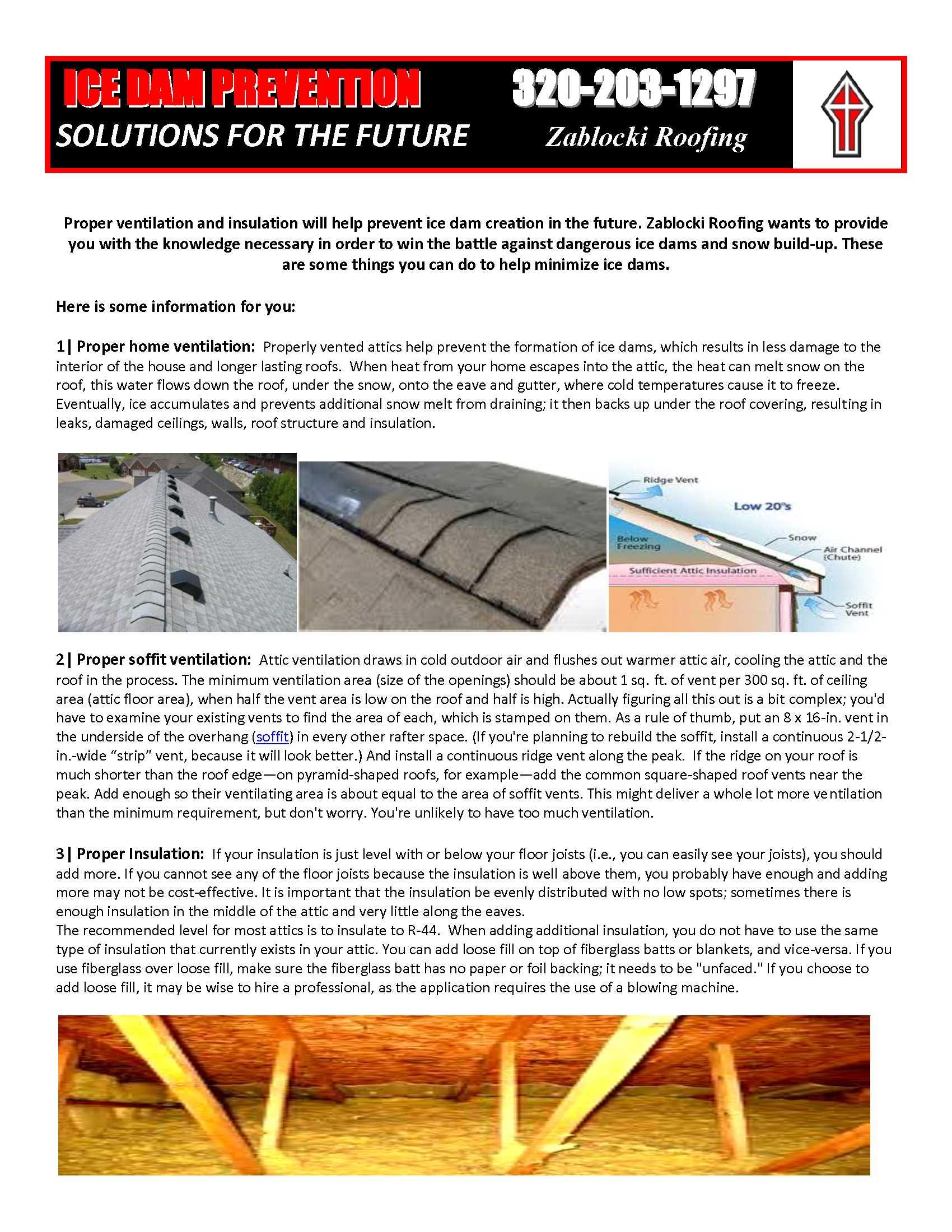 Zablocki Roofing Ice Dam Prevention Zablocki Roofing